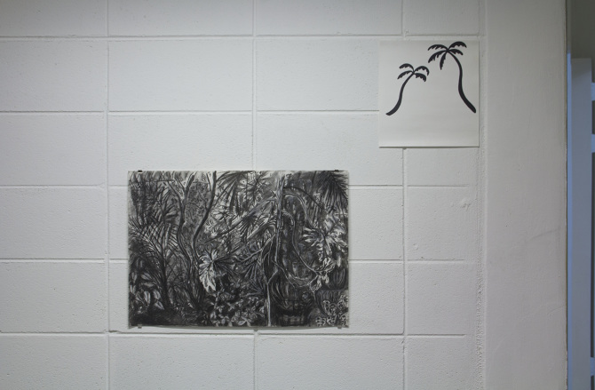 Emily McFarland, (from the top) After Sigmar, Sharpie® on card, 2014 Palm House, Belfast, Charcoal on acid free paper, 2014